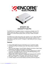 Encore ENXTV-X2 EXTERNAL TV TUNER PRO Specifications