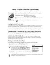 Epson 785EPX - Stylus Photo Color Inkjet Printer Supplementary Manual