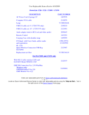 Epson PowerLite 1725 Parts List