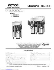Fetco Extractor CBS-2031 User Manual