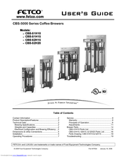 Fetco Coffee Brewer Manual Cbs 2052e : Fetco CBS-52H15 Manuals