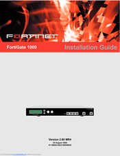FORTINET FORTIGATE FORTIGATE-1000 INSTALLATION MANUAL Pdf