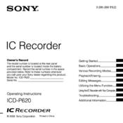 sony icd p620 manuals rh manualslib com sony icd-p620 instruction manual sony icd-p620 manual pdf