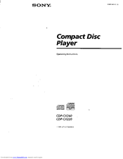 Sony CDP-CX240 - 200 Disc Cd Changer Operating Instructions Manual