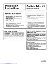 Frigidaire PLMB209DC Installation Instructions