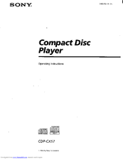 Sony CDP-CX57 - 50 Disc Cd Changer Operating Instructions Manual