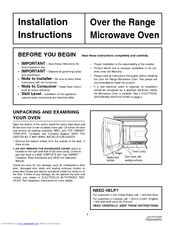 Frigidaire Fmv156dc Installation Instructions Manual