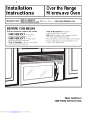 Frigidaire FMV157GS - Microwave Installation Instructions Manual