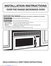 Frigidaire Fmv158fm Installation Instructions Manual 24 Pages Over The Range Microwave Oven