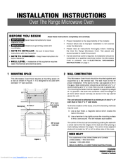 Frigidaire Gallery FGMV173K Installation Instructions Manual