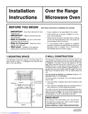 Frigidaire PLMV169DC Installation Instructions Manual