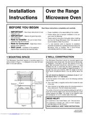 Frigidaire Plmv169dc Installation Instructions Manual