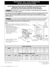 Frigidaire Pleb27m9ec 27 Microwave Electric Oven Combination Installation Instructions Manual 12 Pages
