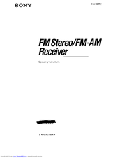 Sony STR-D590 - Fm-am Receiver Operating Instructions Manual
