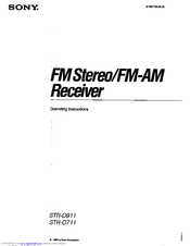 Sony STR-D711 - Fm Stereo / Fm-am Receiver Operating Instructions Manual