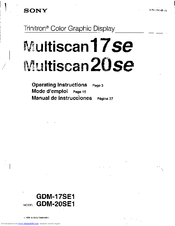 Sony Multiscan 17SE Operating Instructions Manual
