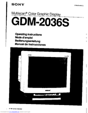 Sony Multiscan GDM-2036S Operating Instructions Manual