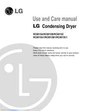 LG RC8015A1 Use And Care Manual