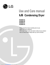 LG RC8001A Use And Care Manual