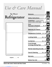 Frigidaire FRT17B3AQ - Top Freezer Refrigerator Manuals