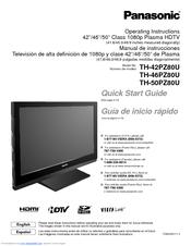 Panasonic TH-42PZ80U Quick Start Manual