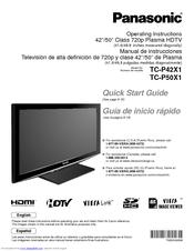 panasonic tc p50x1 operating instructions manual pdf download rh manualslib com panasonic plasma tv service manual panasonic plasma tv instruction manual