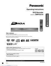 panasonic dmrea18 dvd recorder multi language manuals rh manualslib com panasonic dvd recorder dmr-ex75 instruction manual Panasonic DVD Recorder with Tuner