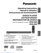 Panasonic DVDS38 - DVD/CD PLAYER - MULTI LANGUAGE Operating Instructions Manual