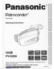 Panasonic PVD209D - VHS-C CAMCORDER Operating Manual