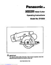 Panasonic EY3530 - CORDLESS METAL SAW Operating Instructions Manual