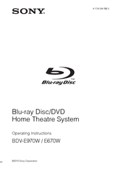 Sony BDV-E670W Operating Instructions Manual