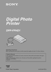 sony dpp fphd1 instruction manual photo printer manuals rh manualslib com Sony Owner's Manual Online Operators Manual