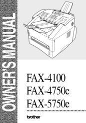 Brother intellifax 4100e user manual | 156 pages | also for.
