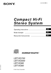 Sony LBT-XG500 - Compact Hi-fi Stereo System Operating Instructions Manual