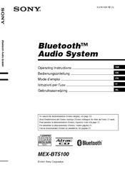 Sony BluetoothH MEX-BT5100 Operating Instructions Manual