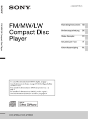 sony cdx gtui manuals we have 2 sony cdx gt560ui manuals available for pdf operating instructions manual installation connections