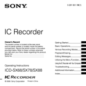 sony icd sx68 operating instructions manual pdf download rh manualslib com Sony ICD -PX333 Digital Voice Recorder Sony IC Recorder Manual PX820