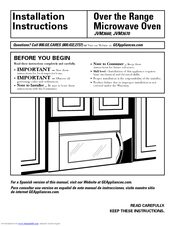 Ge Jvm3670wf Profile Emaker Xl 1800 36 Microwave Oven Installation Instructions Manual 48 Pages