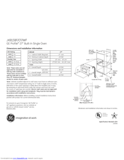 GE JK915 Dimensions And Installation Information