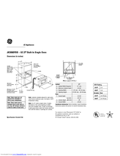 GE JKS06 Dimensions And Installation Information