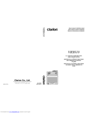 CLARION VRX610 OWNER'S MANUAL & INSTALLATION MANUAL Pdf Download. on