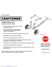 Craftsman TRACTOR LIFT 610.246 User Instructions