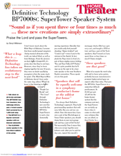 Definitive Technology SuperTower BP7000SC Brochure