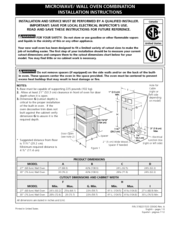 Frigidaire Fpmc3085kf Microwave Oven Combination Installation Instructions Manual