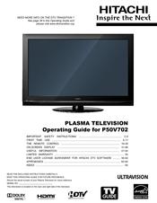 Hitachi P50v702 Operating Manual Pdf Download Manualslib