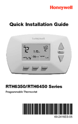 Honeywell PROGRAMMABLE THERMOSTAT RTH6450 Quick Installation Manual