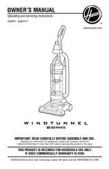 Hoover UH70105 - T-Series WindTunnel Upright Bagless Vacuum Cleaner Owner's Manual