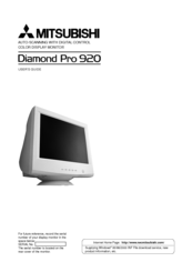 Manuals And User Guides For Mitsubishi Diamond Pro 920 We Have 1 Manual Available Free PDF Download