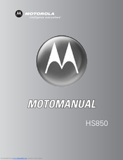 Motorola HS850 - Headset - Over-the-ear Owner's Manual
