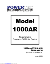 Powertec Regenerative Brushless DC Motor Control 1000AR Manuals